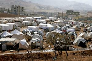 campo de refugiados sirios en la frontera con Líbano