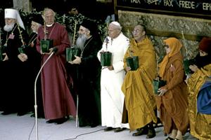 encuentro de oración interreligiosa por la paz en 1986 en Asís convocado por Juan Pablo II