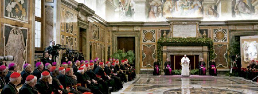 papa Francisco y la Curia, encuentro en Navidad 2013