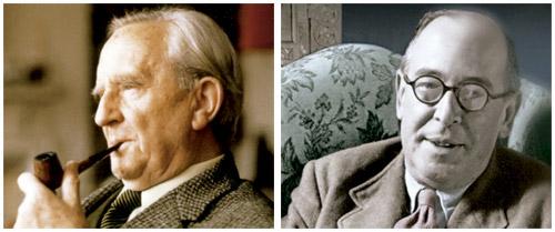 JRR Tolkien y CS Lewis, escritores