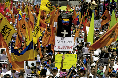manifestación de líderes opositores y representantes de los estudiantes en Venezuela febrero 2014