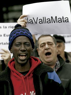 manifestación a favor de los inmigrantes víctimas y fallecidos en la frontera de Ceuta