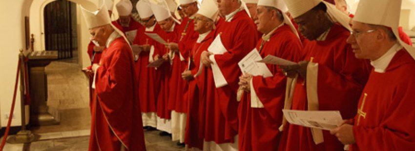 grupo de obispos rezan en la gruta de los papas en Roma durante una visita ad limina