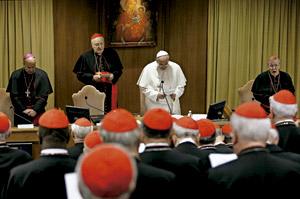 papa preside una asamblea plenaria del colegio cardenalicio de preparación para el Sínodo de la Familia febrero 2014