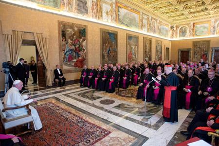 papa Francisco con los obispos españoles en visita ad limina 3 marzo 2014
