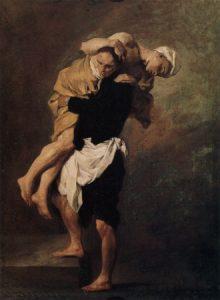 Camilo de Lelis salvando un enfermo, por Pierre Subleyras (1746).