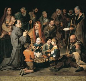 San Diego de Alcalá dando de comer a los pobres. Murillo (1646).