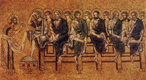 Jesús lava los pies a los apóstoles (mosaico veneciano, circa 1210).