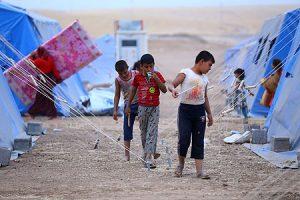 Refugiados huidos de Mosul, en un campo cerca de Irbil.
