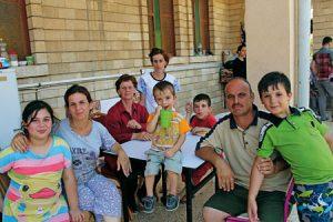 Familia de desplazados en Erbil.