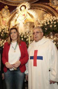 La presidenta de Andalucía, Susana Díaz, durante una visita a la basílica menor del Santuario de la Virgen de la Cabeza.