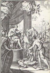 Martirio de los Santos Niños Justo y Pastor según grabado de Isidoro Carnicero, 1759.
