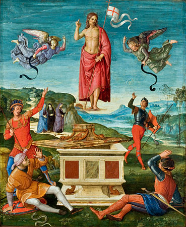 Resurrección de Jesucristo por Rafael Sanzio, circa 1500.