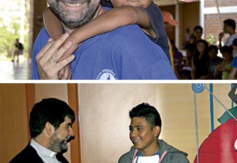 Marlon joven Nicaragua y Alberto Cisneros sacerdote proyectos Infancia Misionera 2015