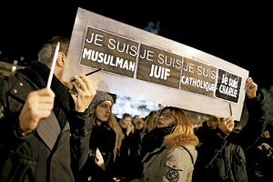 manifestación Je suis Charlie a favor de las víctimas del atentado contra la revista francesa