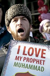 manifestación de musulmanes contra la publicación de las caricaturas de Mahoma en la revista Charlie Hebdo