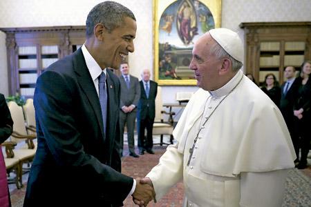 papa Francisco recibe a Barack Obama, presidente de los Estados Unidos, en marzo 2014