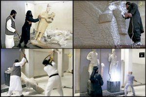 imágenes del vídeo difundido por el Estado Islámico donde se destruyen obras de arte del Museo de las Civilizaciones de Mosul y esculturas de Nínive y Hatra febrero 2015