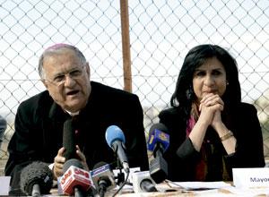 patriarca de Jerusalén, Fouad Twal, y Vera Baboun, alcaldesa de Belén