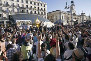 Manifestación en la Puerta del Sol de Madrid por el cuarto aniversario del 15-M