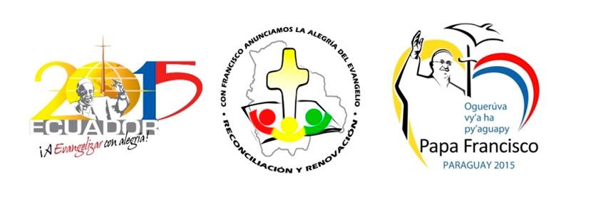 tres logos del viaje apostólico del papa Francisco a Ecuador, Bolivia y Paraguay