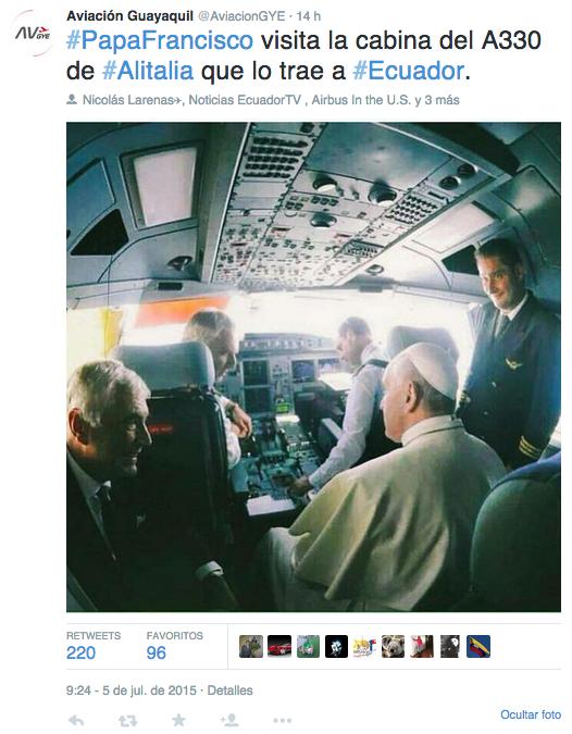 Aviación Guayaquil: Francisco visita la cabina del avión A330