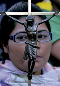 manifestación de la minoría cristiana en Pakistán para pedir la liberación de Asia Bibi