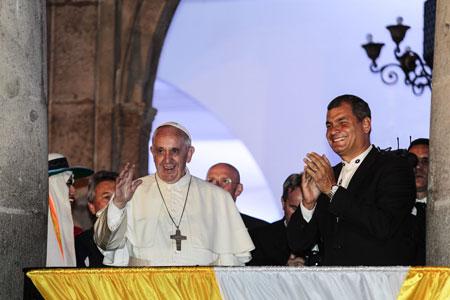 El papa Francisco se reune con Rafael Correa (Ecuador)