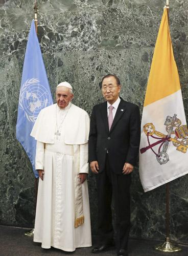 papa Francisco con Ban Ki-moon discurso ante la ONU Naciones Unidas Nueva York 25 septiembre 2015