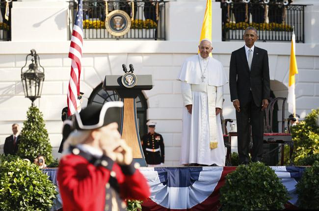 papa Francisco y presidente Barack Obama ceremonia oficial de bienvenida en la Casa Blanca 23 septiembre 2015