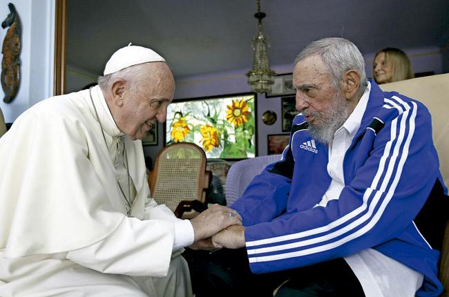 papa Francisco con Fidel Castro en La Habana 20 septiembre 2015