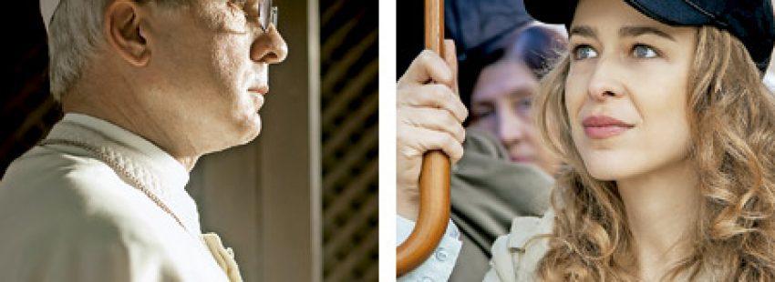 dos fotogramas de la película Francisco el padre Jorge, película sobre Bergoglio septiembre 2015