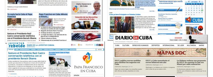 diarios digitales de Cuba informan de la inminente llegada del papa Francisco viaje Cuba y Estados Unidos 19-28 septiembre 2015