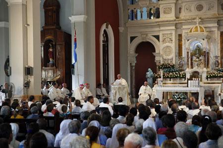 Francisco, en el Santuario de la Virgen de la Caridad del Cobre