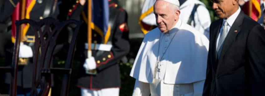 papa Francisco con el presidente Barack Obama en la ceremonia de bienvenida en la Casa Blanca viaje Estados Unidos 23 septiembre 2015