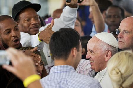 papa Francisco en el centro caritativo de la parroquia de St Patrick y encuentro con los sintecho Washington 24 septiembre 2015