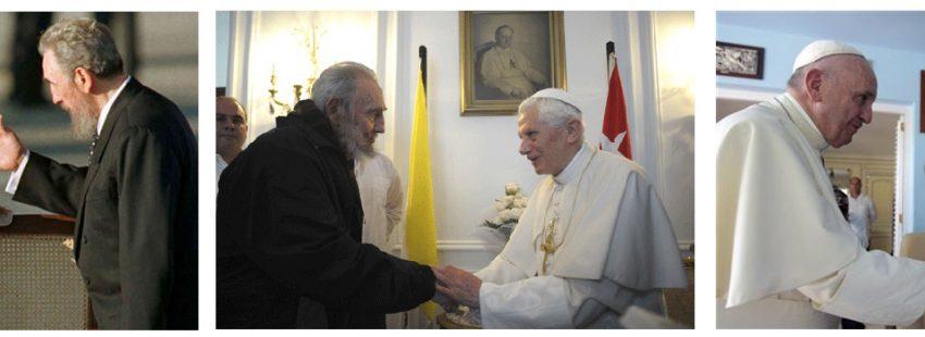 tres papas con Fidel Castro Juan Pablo II 1998, Benedicto XVI 2012, Francisco 2015