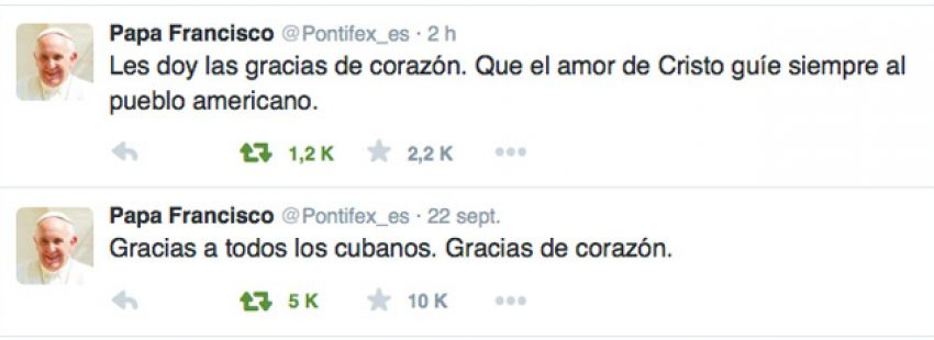 Tuits publicados por el Papa en su cuenta de Twitter Pontifex_es tras el viaje a Cuba y Estados Unidos 19-28 septiembre 2015