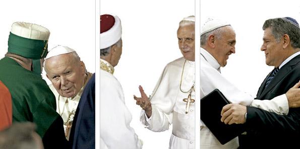 Juan Pablo II, Benedicto XVI y Francisco en gestos con líderes de otras religiones