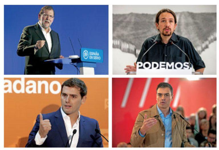 Mariano Rajoy, Pablo Iglesias, Albert Rivera, Pedro Sánchez, candidatos a presidente del Gobierno elecciones generales 20 diciembre 2015