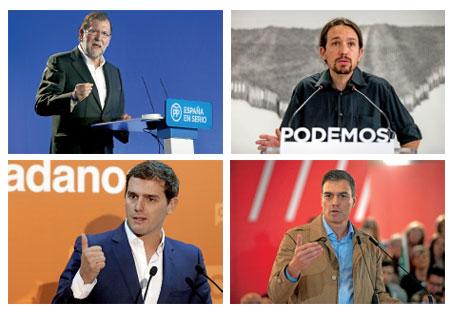 Mariano Rajoy, Pablo Iglesias, Albert Rivera y Pedro Sánchez