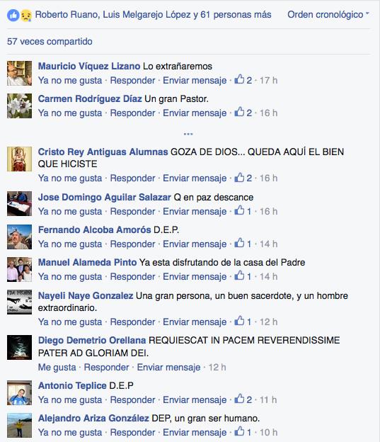 comentarios de pésame en Facebook a la noticia del fallecimiento de Alberto Iniesta