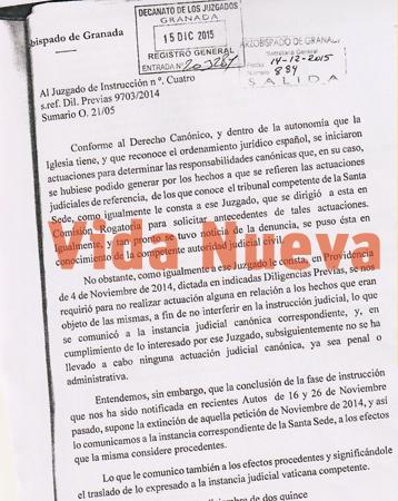 carta del caso Romanones enviada por Javier Martínez, arzobispo de Granada, al juez del caso para comunicarle que el Vaticano seguirá investigando