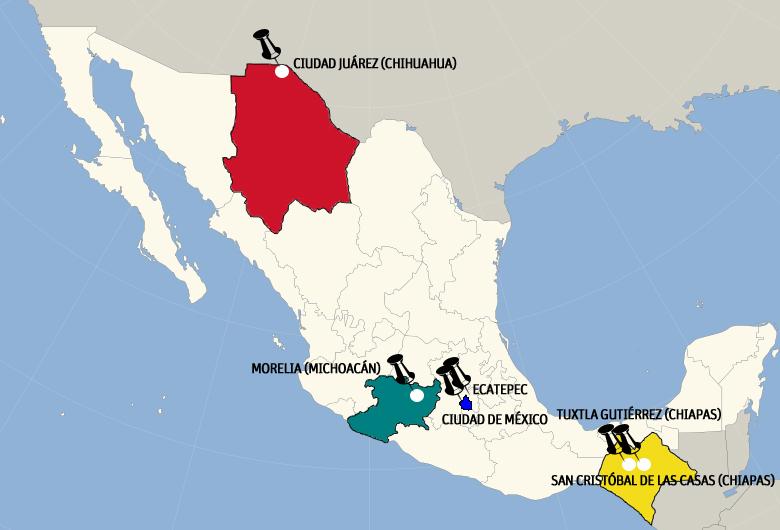 mapa de México con las ciudades que va a visita el papa Francisco durante su viaje 12-18 febrero 2016