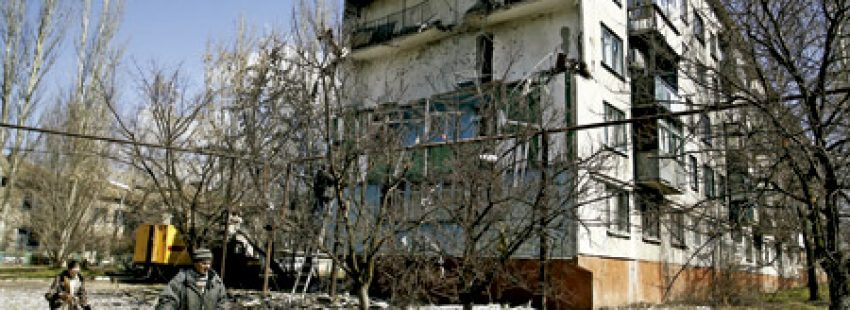 ciudad de Donestk en Ucrania, devastada por la guerra