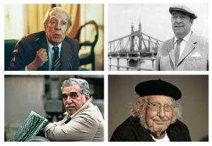 Arriba: Jorge Luis Borges y Pablo Neruda. Abajo: García Márquez y Ernesto Cardenal