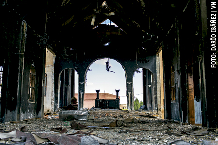 iglesia de San Jorge en Siria quemada en un ataque de los yihadistas del ISIS