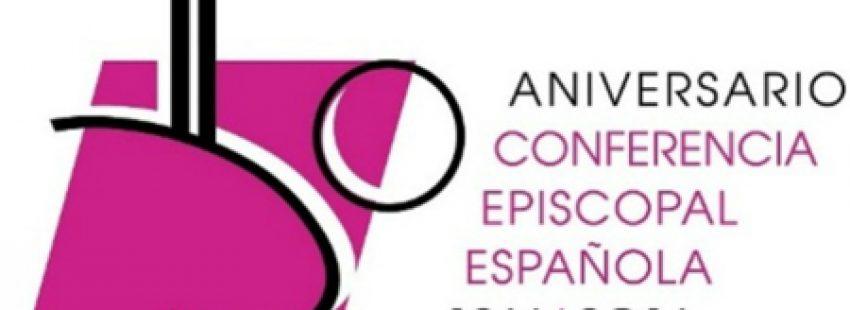 logotipo del 50 aniversario de la Conferencia Episcopal Española