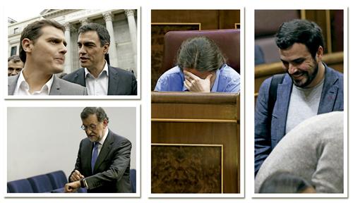 Albert Rivera Ciudadanos, Pedro Sánchez PSOE, Mariano Rajoy PP, Pablo Iglesias Podemos, Alberto Garzón Izquierda Unida, políticos españoles líderes de partidos
