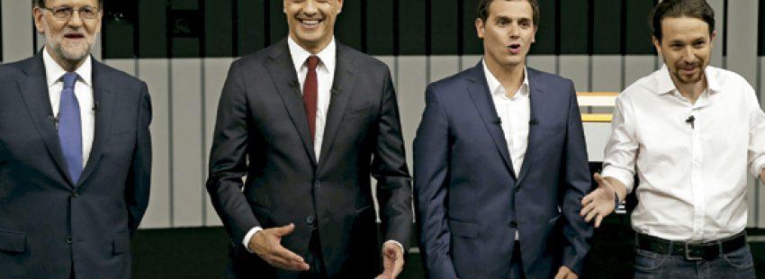 Mariano Rajoy PP, Pedro Sánchez PSOE, Albert Rivera Ciudadanos, Pablo Iglesias Podemos durante el debate para las elecciones generales 26 J 13 junio 2016